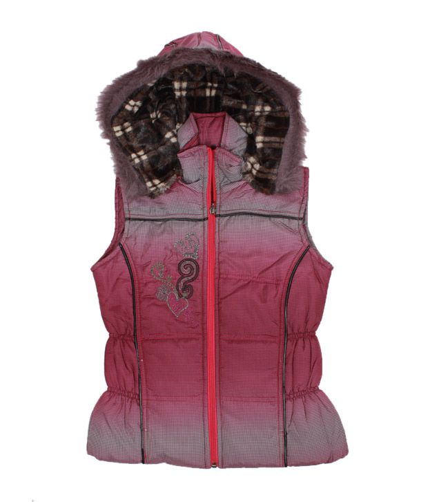 Fort Collins Pink Checkered Hooded Jacket For Kids