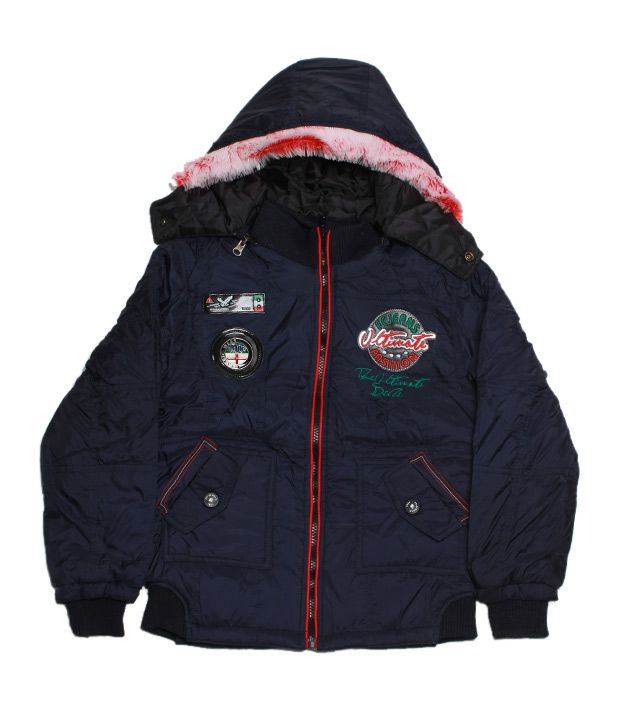 Fort Collins Navy Blue & Red Hooded Jacket For Kids
