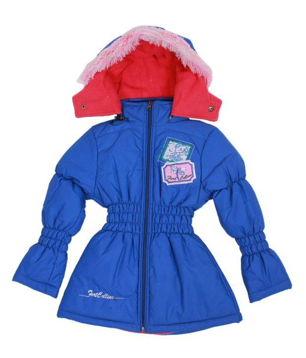 Fort Collins Royal Blue Fur Hood Jacket For Kids