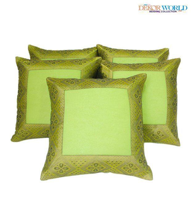Dekor World Green Zari Cushion Covers Set of Five 16x16 inches
