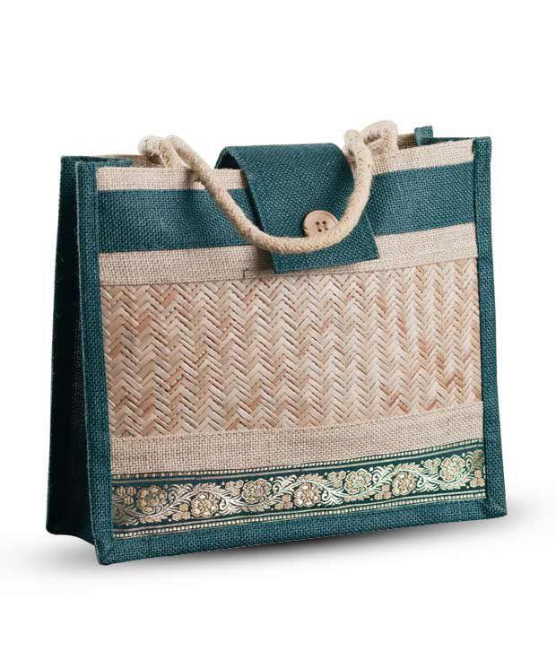 Aapno Rajasthan Blue Zigzag Cane Design Handbag