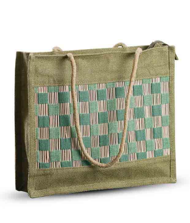 Aapno Rajasthan Bottle Green Jute Handbag