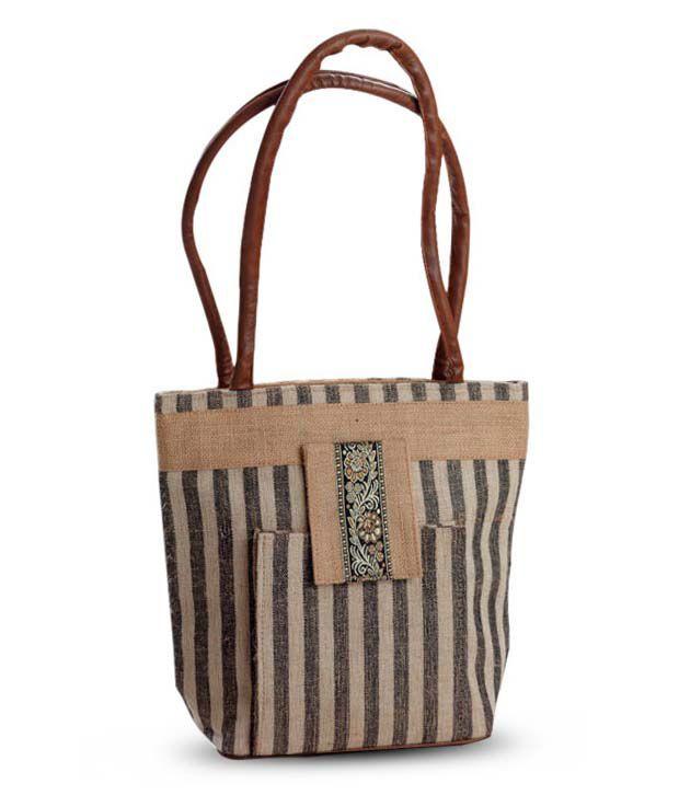 Aapno Rajasthan Grey & Brown Stripes Design Handbag