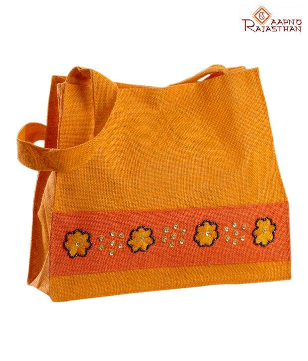 Aapno Rajasthan Orange Sequins Work Jute Handbag