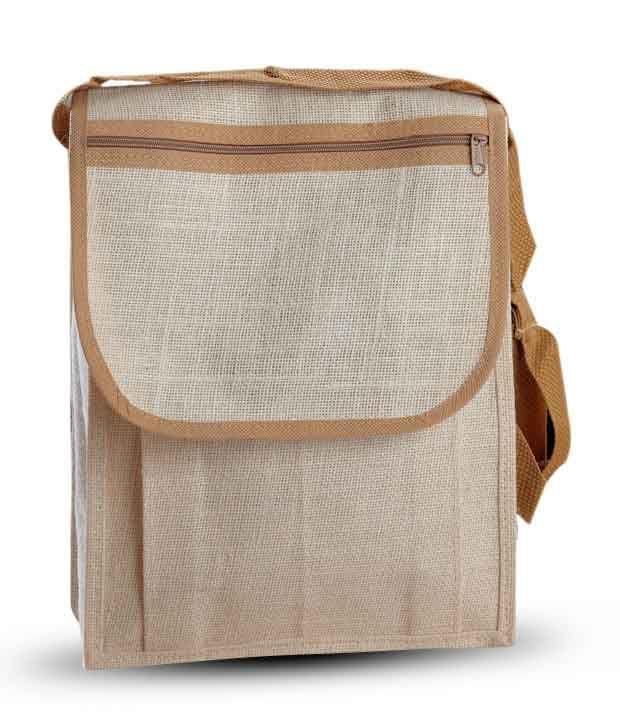 Aapno Rajasthan Grey & Light Brown Jute Handbag