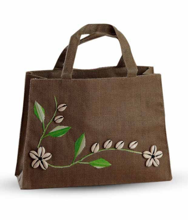 Aapno Rajasthan Brown Embroidery Jute Handbag