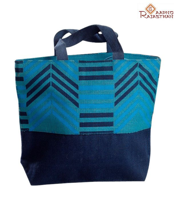 Aapno Rajasthan Blue Zigzag Print Jute Handbag