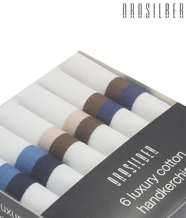 Orosilber White with Horizontal Stripes Luxury Handkerchiefs