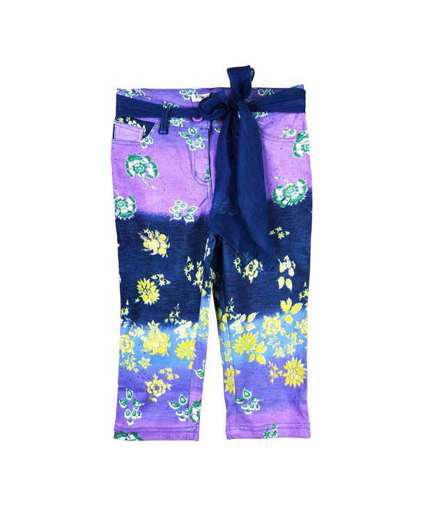 Pretty One Cotton Multi Colour Stretchable Pant For Kids