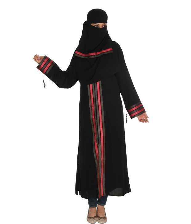 Sabiha Poised Black Burqa With Hijab & Naqab