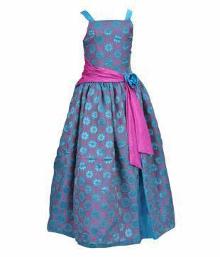 Kilkari Blue & Pink Long Dress For Kids
