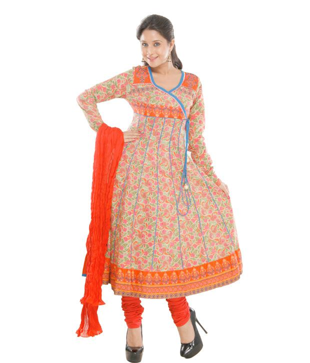 G Gorgeous Green & Orange Designer Angrakha Suit
