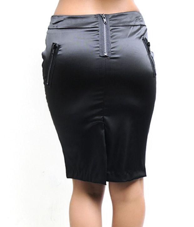 Buy N-Gal Black Satin Pencil Skirt Online at Best Prices in India ...