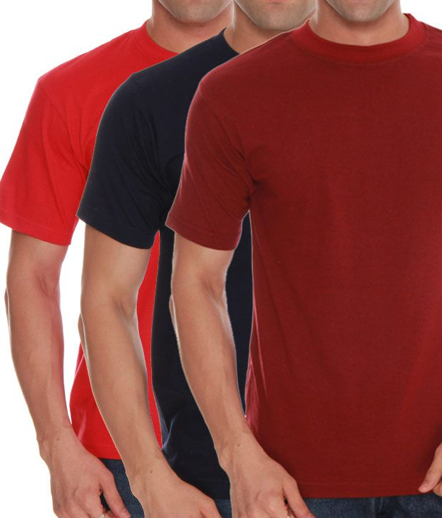 Absolut Zero Red- Blue- Maroon Pack Of 3 T-Shirts