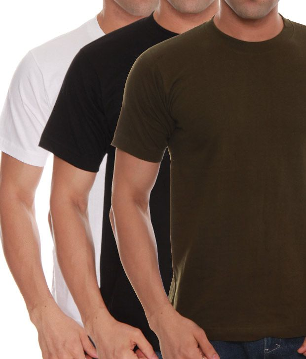 Absolut Zero White- Black- Green Pack Of 3 T-Shirts