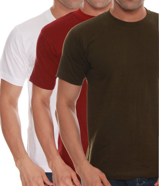 Absolut Zero White- Green- Maroon Pack Of 3 T-Shirts