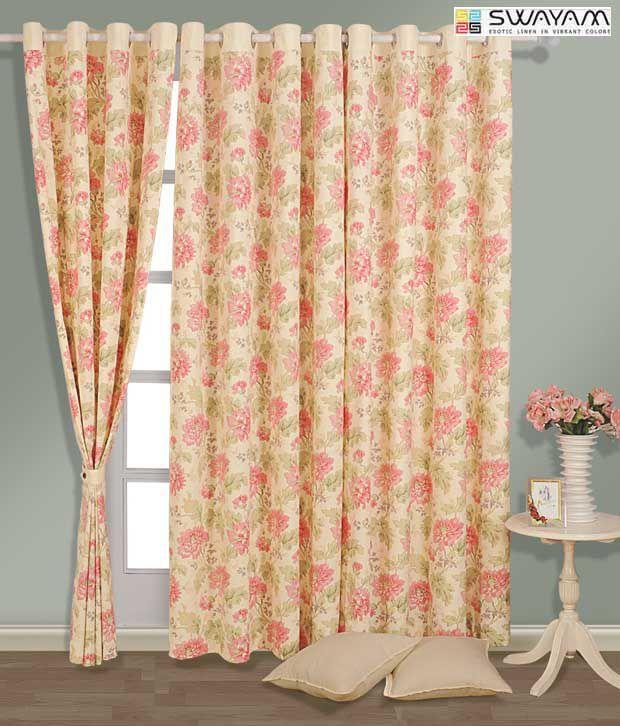 Swayam Cream Amp Pink Floral Curtain Buy Swayam Cream