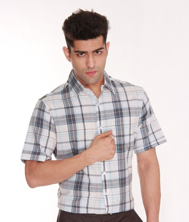 Zoctopus White & Grey Checkered Shirt