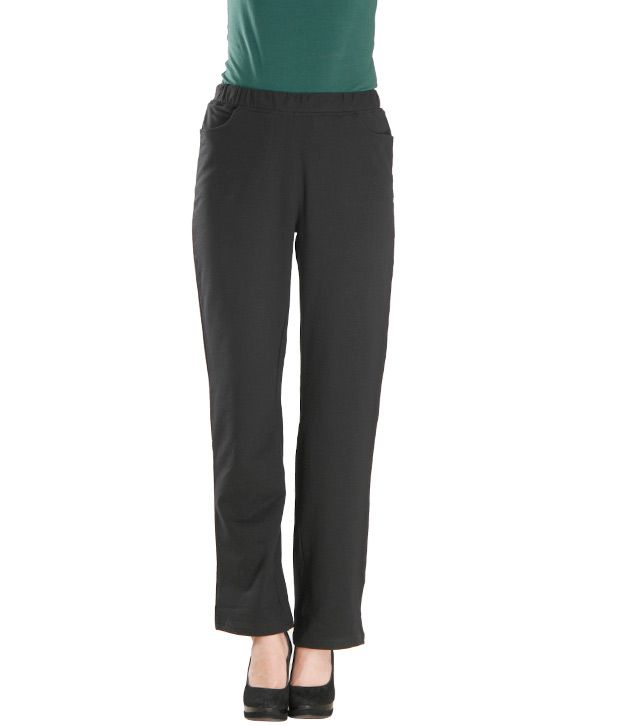 Finesse Black Cotton Lycra Trackpants