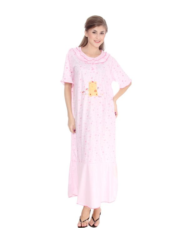 Kate Pink Hearts Printed Cotton Nighty