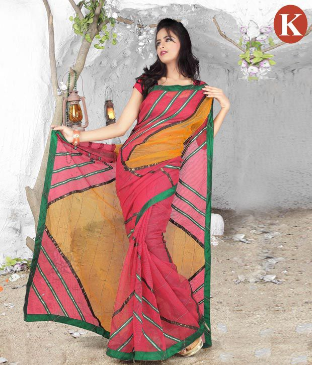 Khazana Pink And Yellow Georgette Saree With Unstitched Blouse