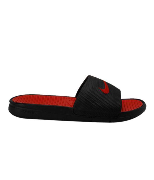 6fce02e74a41 Nike Benassi Solar Soft Slide Black   Red Slippers Price in India ...