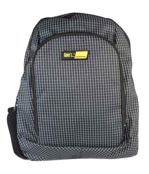 Spen'z Black and White Laptop Backpack