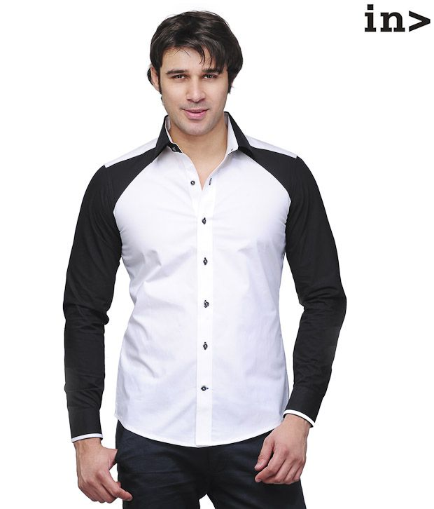 Invogue Stylish White & Black Shirt