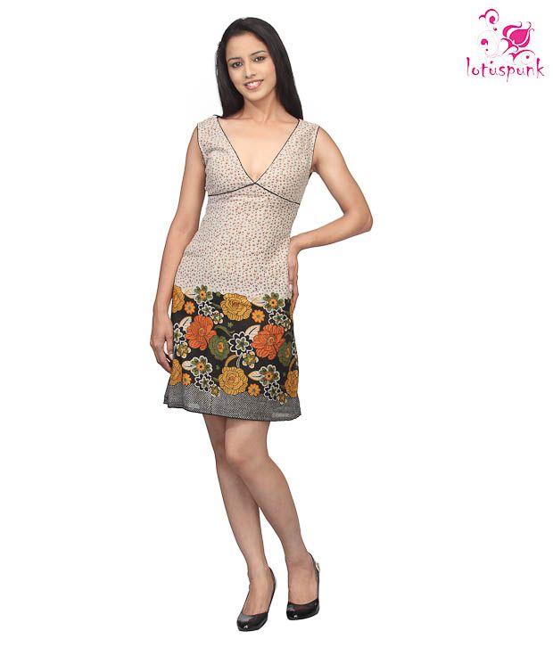 Lotus Punk Multi Color Printed Cotton Dress