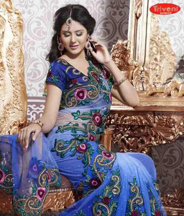 Triveni Sarees Blue Net Saree