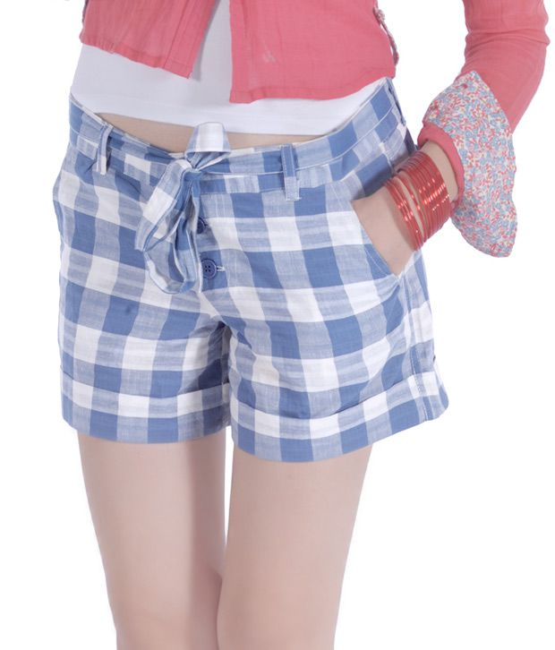 Wow Madam Stylish Blue-Off White Shorts
