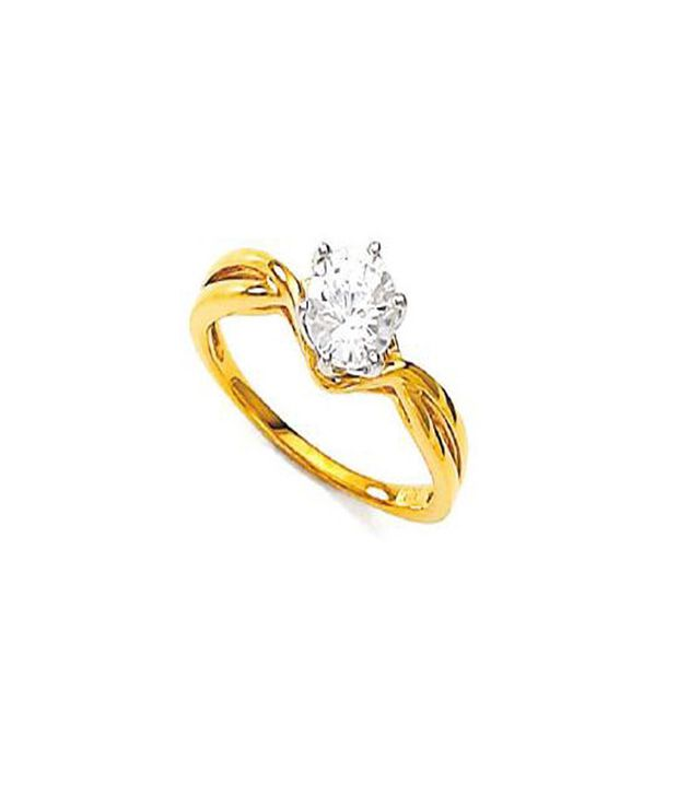 Bold Divine Solitaire Look Gold Ring