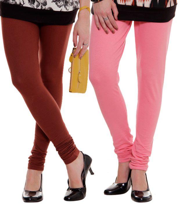 Rham Coral Pink Maroon Leggings Combo Of 2 Price In India