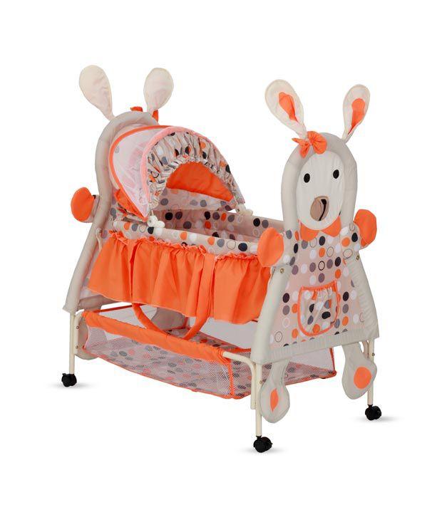 Delia Rabbit-Shaped Baby Bassinet-Orange