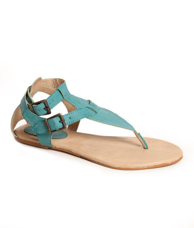 Oscar Turquoise Blue Flat Sandals