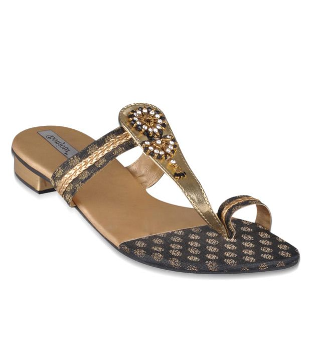 Bonjour Ethnic Black Slip-on Heels