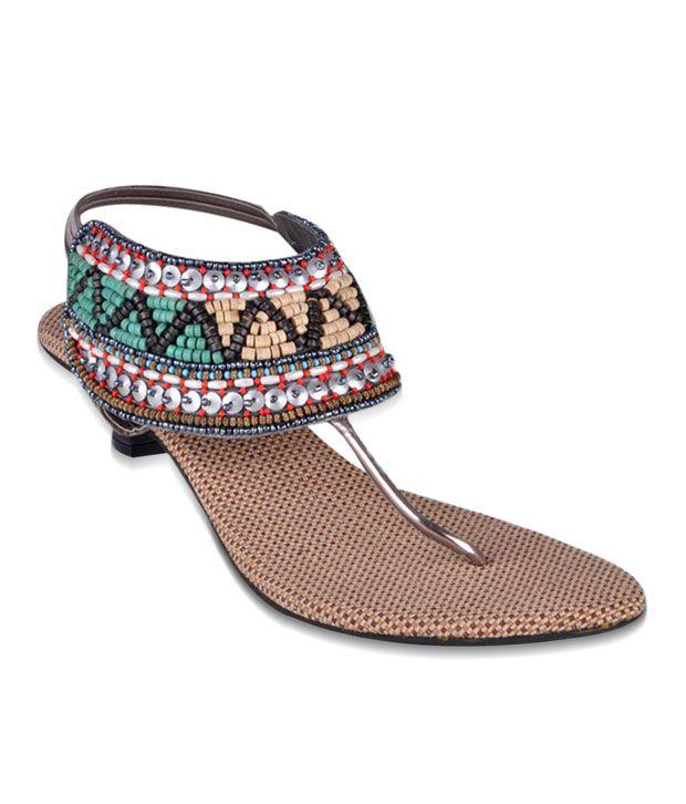Bonjour Silver & Green Heel Sandals