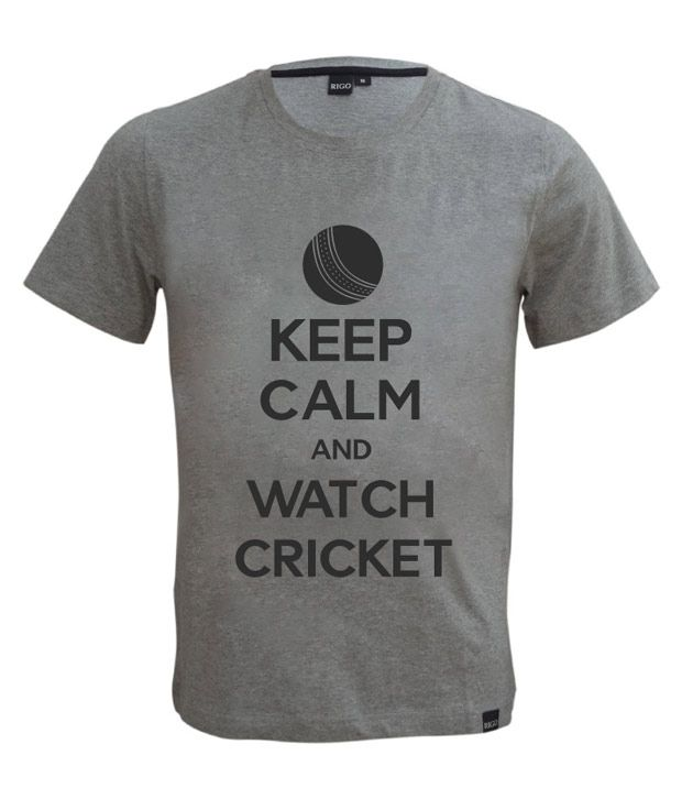 Rigo Grey Keep Calm Cricket T-shirt