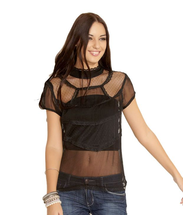 ea4e8db385f Forever New Chic Black Top - Buy Forever New Chic Black Top Online at Best  Prices in India on Snapdeal