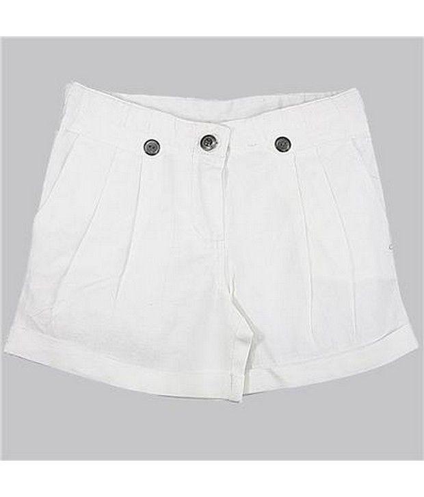 ShopperTree White Cotton ShortsFor Kids