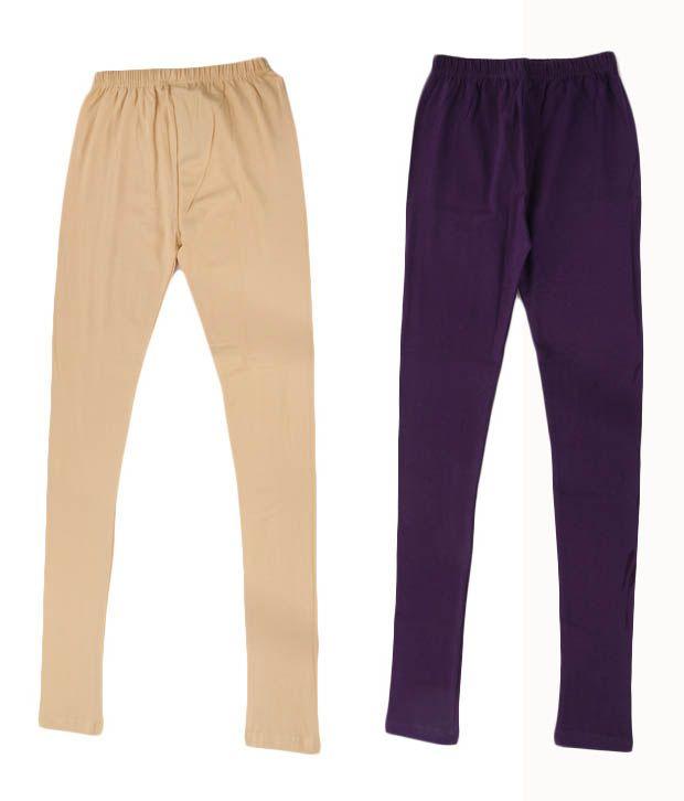 RHAM GOLD Pack of 2 Purple & Creame Color Leggings for Girls For Kids