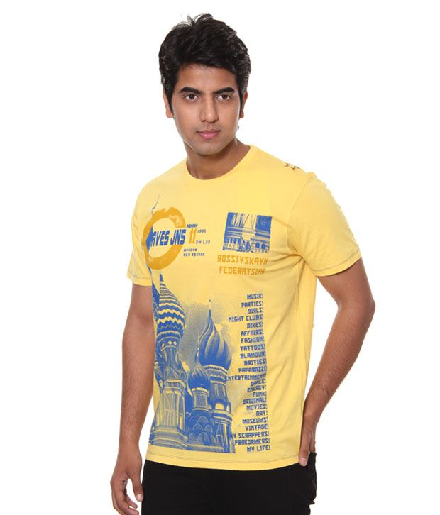 Raves Printed Yellow T-Shirt