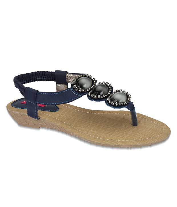Aria Chic Blue Flat Sandals