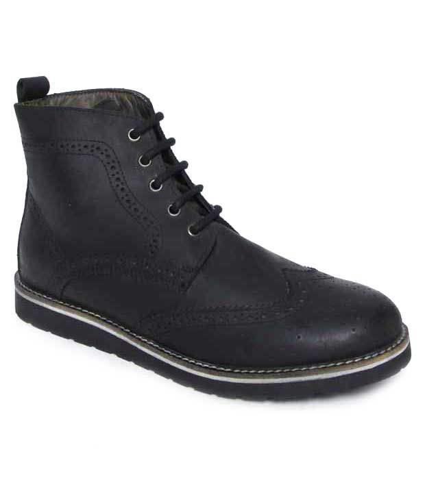 Franco Leone Stylish Black High Ankle Length Boots
