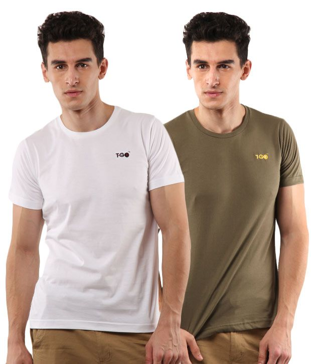 T-Go White-Olive Pack of 2 T-Shirts
