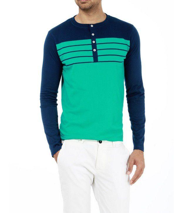 Basics 029 Green Striped T-Shirts