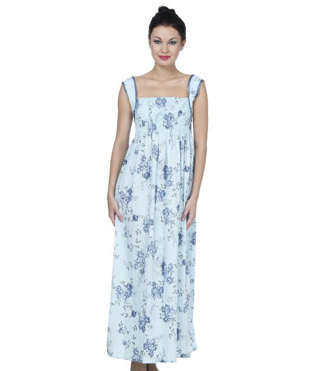 e73c96383fb Buy Affair Blue Printed Sleeveless Cotton Nighty Online at Best Prices in  India - Snapdeal