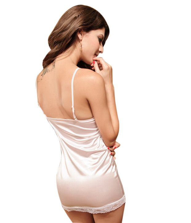 516e587de Khazana White Satin Babydoll Dress Khazana White Satin Babydoll Dress