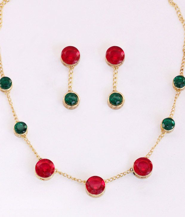 Touchstone Round Maroon & Green Glass Stone Necklace Set