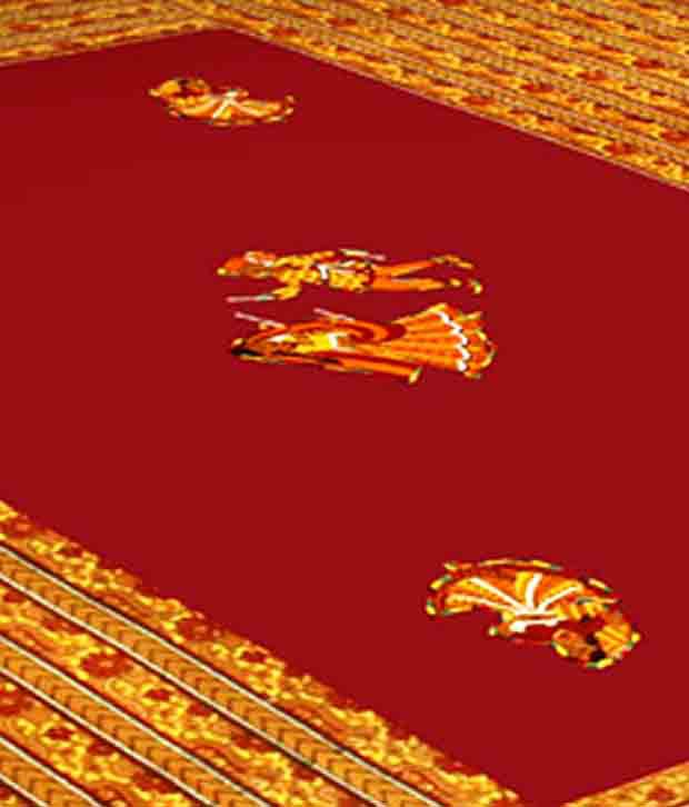Shop Rajasthan Red & Yellow Applique Work Double Bed Sheet Set Buy